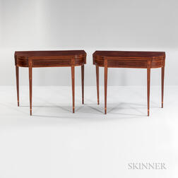 Pair of Figured Mahogany Veneer Inlaid Double Swing-leg Card Tables