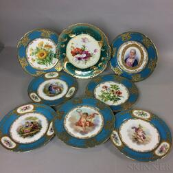 Eight Continental Hand-painted Porcelain Plates