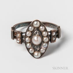 Antique 14kt White Gold, Rose-cut Diamond, and Pearl Ring