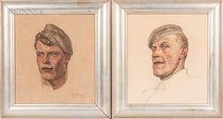 Ferdinand Spiegel (German, 1879-1950)      Two Framed Portraits of WWI Soldiers