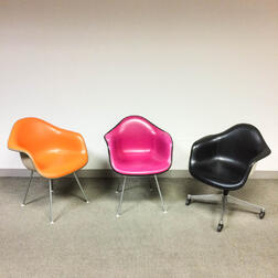 Three Charles and Ray Eames for Herman Miller DAX Chairs