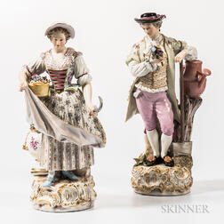 Pair of Meissen Porcelain Gardener Figures