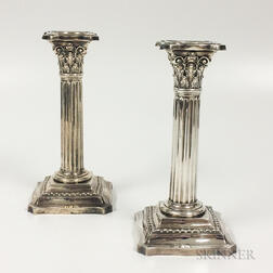 Pair of Wallace Corinthian Weighted Sterling Silver Candlesticks