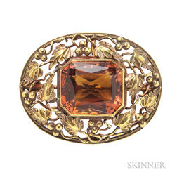 Arts and Crafts Gold and Citrine Brooch