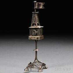 Austro-Hungarian Silver Tower-form Spice Container