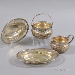 Pair of Tiffany & Co. Reticulated Trays and a Whiting Manufacturing Co. Engraved Sugar and Creamer Set