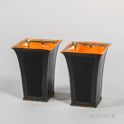 Pair of Wedgwood Black-glazed Lustre Ware Vases