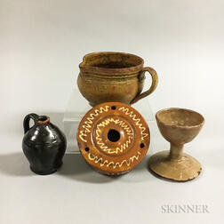 Four Glazed Redware Table Items