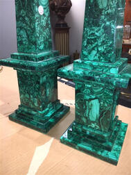 Large Pair of Russian Malachite Obelisks