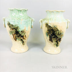 Pair of Vases with Carved Grotto Landscapes