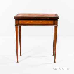 Louis XVI-style Mahogany and Satinwood Parquetry Card and Writing Table
