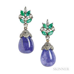 Tanzanite, Emerald, and Diamond Earrings