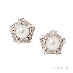 White Gold, South Sea Pearl, and Diamond Earclips