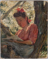 Joseph Henry Hatfield (American, 1863-1928)      Girl Reading in a Tree