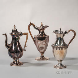 Three English Silver-plated Pots