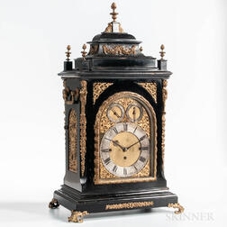 W. Lister & Sons Ebonized Eight-bell Quarter-hour Bracket Clock