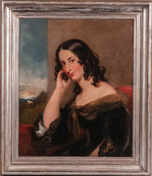 British School, 19th Century      Regency-era Portrait of a Young Woman with Dark Curls