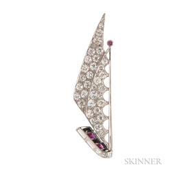 Art Deco Platinum and Diamond Sailboat Brooch,