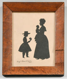 Framed Auguste Edouart Silhouette Reproduction of the Eagle Family