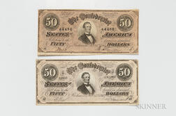 Two 1864 Confederate States of America $50 Notes