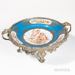 Sevres-style Bronze-mounted Center Dish