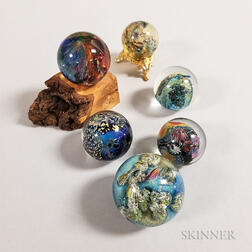 Six Josh Simpson Glass Planet Marbles
