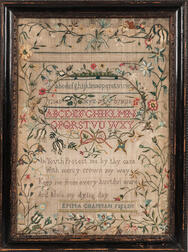 """Emma Chapman Fields"" Needlework Sampler"