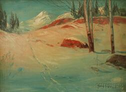 Svend Rasmussen Svendsen (Norwegian/American, 1864-1945)      Snowscape with House and Mountains.
