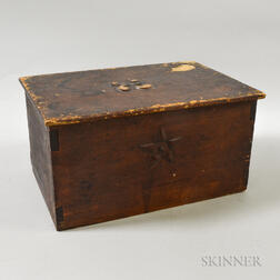 """Red-painted and Carved Pine """"Log Cover"""" Box"""