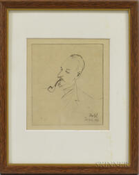 Continental School, 20th Century      Portrait Head of a Man Smoking a Pipe