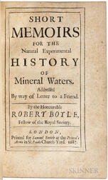 Boyle, Robert (1627-1691) Short Memoirs for the Natural Experimental History of Mineral Waters.