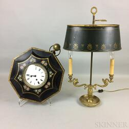 Brass and Tole Wall Clock and Two-light Boudoir Lamp