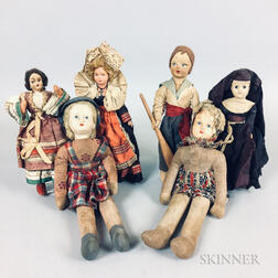 Six Small Felt, Painted Cloth, and Celluloid Dolls
