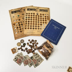Group of American Coins and Paper Money