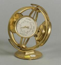 Retro Armillary Sphere-form Desk Timepiece with Barometer and Thermometer