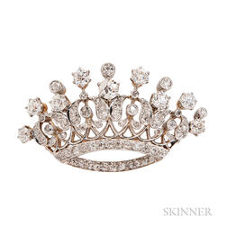 Edwardian Diamond Crown Brooch