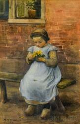 Marcia Oakes Woodbury (American, 1865-1913)      Dutch Girl Holding a Sunflower