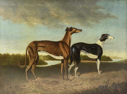 American School, 20th Century    Two Whippets in a Landscape