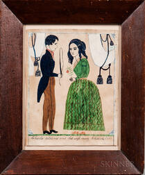 Watercolor Marriage Record of Charles Addems and Mary Chaine