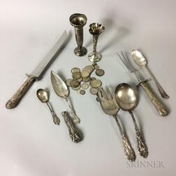 Group of Sterling Silver Flatware and Silver and Silver-clad Coins