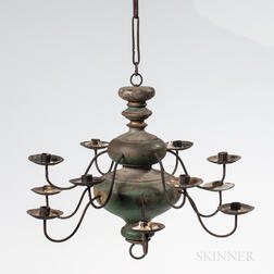 Turned and Blue-painted Wood and Iron Chandelier