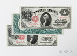 Three 1917 $1 Legal Tender Consecutive Serial Number Notes, Fr. 39