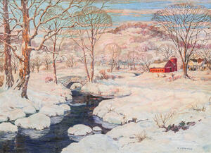 William Chadwick (American, 1879-1962)      Snowy Landscape with Red Barn and Stream
