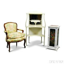 Louis XV-style Carved Walnut Upholstered Fauteuil, a Painted Etagere, and a Cabinet