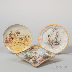 Three Wedgwood Hand-painted Queen's Ware Dishes