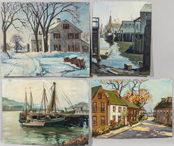 Paul Ernest Goodridge (American, 1912-1991)    Four Unstretched Oil Paintings of Wharves and Village Houses, Probably Marblehead