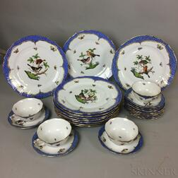 "Twenty-five Pieces of Herend ""Blue Rothschild Bird"" Porcelain Tableware.     Estimate $400-600"
