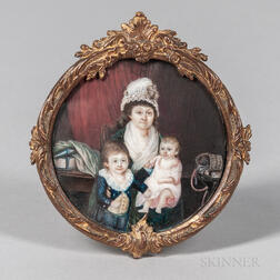 Portrait Miniature of a Mother and Two Children