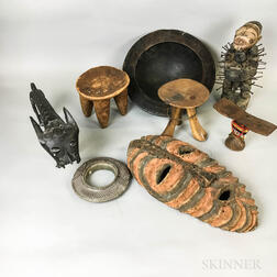 Nine African Carved Wood and Metal Items