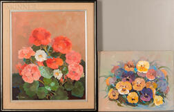 Ruth Jewell (American, 1908-1999)      Two Floral Still Lifes: Pansies